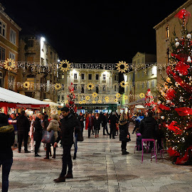 split by Ante Budimir Bubinho - City,  Street & Park  Street Scenes ( christmas lights, christmas tree, split, square, people )