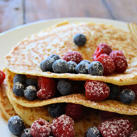 Pancake Day by Heather Aplin - Food & Drink Candy & Dessert ( icing, pancakes, blueberries, raspberries, sugar,  )