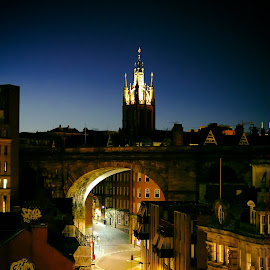 Across the chimneytops by Phil Robson - City,  Street & Park  Skylines ( blue hour, night, cathedral, newcastle, bridge )