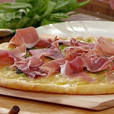 Cornmeal Crusted Pizza with Prosciutto, Green Peas, Fontina and Parmigiano-Reggiano