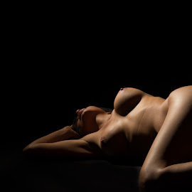 On Her Side by Imagesby Jake - Nudes & Boudoir Artistic Nude ( exposure, beauty, alone, skin, black )