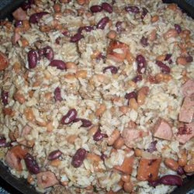 Ground Beef and Sausage in Red Beans and Rice