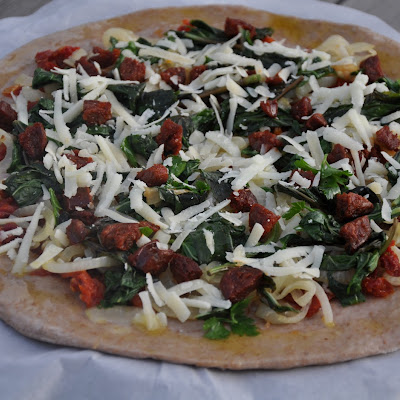 BigBear's Welcome Home Pizza (Sun-Dried Tomato, Basil, Chorizo and Manchego on a Red Wine Crust)