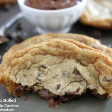 Giant chocolate chip cookies with a Nutella surprise!
