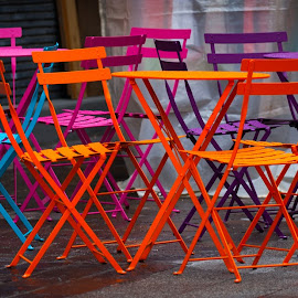 colored chairs by Marjorie Speiser - Artistic Objects Furniture ( europe, coloured, wood, relax, street, furniture, restaurant, diner, city, setting, decor, life, fresh, metal, seat, lifestyle, drink, empty, glass, lunch, place, fine, gourmet, meal, building, coffee, patio, leisure, relaxation, table, sit, dinner, urban, chair, food, outdoor, bistro, service, summer, cafe, dining, eat, outside, sidewalk )