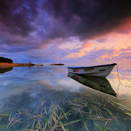 The Boat by Sunan Tara - Landscapes Sunsets & Sunrises ( water, clood, cloud, beach, sunrise, seascape, landscape, boat, light, sun )