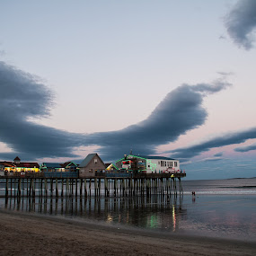 Old Orchard Beach Pier, Maine by Daniel Gorman - Buildings & Architecture Bridges & Suspended Structures ( water, clouds, sand, maine, old orchard beach pier, ocean, beach, old orchard beach, beaches, sunset, pier, cloud, sunrise, vertical lines, pwc, , relax, tranquil, relaxing, tranquility )