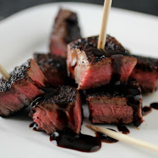 Coffee and Chipotle-Rubbed Steak Kabobs with Stout Molasses Pan Sauce