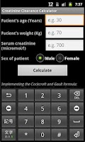 Screenshot of Creatinine Clearance Calc