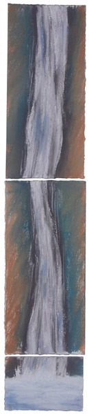 Waterfall Triptych <br> Pastel, watercolor on paper <br> 26 x 5 in