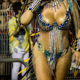 Samba Dancer at Carnaval  by Samy St Clair - People Body Parts ( excitement, dancing, latin american and hispanic ethnicity, sex symbol, sensuality, jewelry, beauty, bikini, party, school of samba parade, feather, multi colored, parade, traditional culture, sexy, samba (brazilian), female body, action, dancer, sao paulo, samba dancing, music festival, carnival, beautiful, silver, fun, beauty in nature, women, sambadrome, pheasant feathers, brazil, female, blue, costume, samba school, celebration, dance, traditional festival, competition )