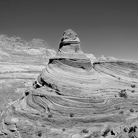 Lighthouse at the wave in Black and White by Tyrell Heaton - Black & White Landscapes ( utah, lighthouse, wave, rocks, formation )