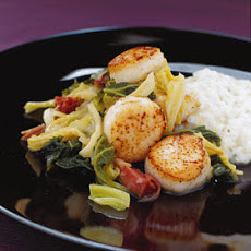 Sea Scallops with Ham-Braised Cabbage and Kale