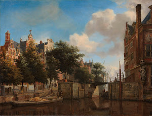 RIJKS: Jan van der Heyden: Amsterdam City View with Houses on the Herengracht and the old Haarlemmersluis 1670