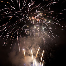 Gold Specs by Liz Childs - Abstract Fire & Fireworks ( rhine, fireworks, castle, germany, rudesheim )