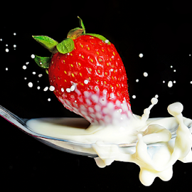 strawberry tipping by Mike S Candleghost - Food & Drink Fruits & Vegetables ( mike s, high speed photography, milk, nikon, strawberry )