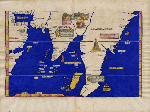 Lorenz FRIES (c. 1485-1532). [India and East Asia]. Tabula Nova utriusque Indiae.  Lyon, 1522 / 1541.  Woodcut with hand colour, 30 x 47.5 cm.  An edition of the first map to show India in its 'modern' form, as a recognizable peninsula, based on a stolen Portuguese master map.   This fascinating map embraces all of South Asia and much of East Asia, as it was conceived by Europeans near the beginning of the 16th Century.  Most interestingly, India, which is named 'India Intra Gangem' (India within the Ganges), appears in its modern form, as a recognizable peninsula, for the first time. East Asia is termed 'India Extra Gangem' (India beyond the Ganges) and assumes comparatively crude outlines.