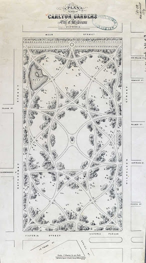 Plan of Carlton Gardens, 1874. Reproduced courtesy of the Map Collection, State Library of Victoria.