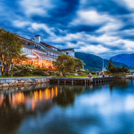 Brakanes hotel by Rio Tanusudiro - Landscapes Travel ( blue, cloudy, blue hours, lake, hotel, travel, landscape, norway, fjord )