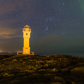 Lighthouse at Breið by Palmi Vilhjalmsson - Landscapes Travel ( iceland, stars, akranes, aurora, lighthouse, night, breið )