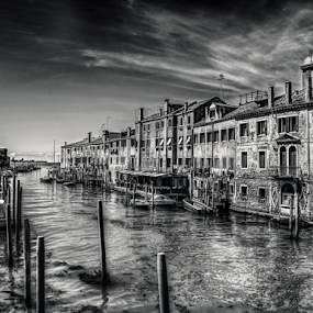 Venice, Giudecca by Andrea Conti - Black & White Buildings & Architecture ( clouds, houses, laguna, boats, black & white, sea, architecture, canal, b/w, venezia, buildings, venice, giudecca, italy )