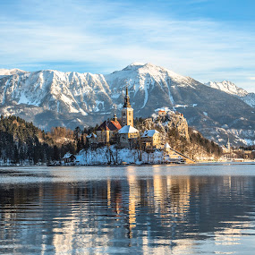Beautiful morning on Bled Lake by Aleš Krivec - Buildings & Architecture Places of Worship ( old, reflection, europe, mountain, island, sky, nature, tree, bled, water, church, park, green, beautiful, lake, tourism, scenic, blue, color, slovenia, outdoor, castle, scenery, view, outside )