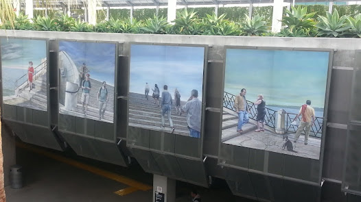 """Eloy Torrez's work depicts the transient encounters and resulting unexpected conversations with strangers provided by transit and commuting experiences.  Here stairs are transitional elements allowing us to """"pass through, across and over scenarios."""""""