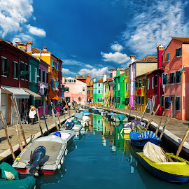 Burano, Veneto by Nick M - City,  Street & Park  Street Scenes ( houses, color, venice, burano, canal, colours )