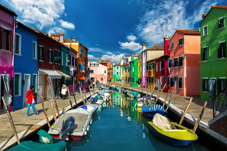 Burano, Veneto by Nick Moulds - City,  Street & Park  Street Scenes ( houses, color, venice, burano, canal, colours, colorful, mood factory, vibrant, happiness, January, moods, emotions, inspiration,  )