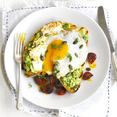 Avocado On Toast With Chorizo & Fried Eggs