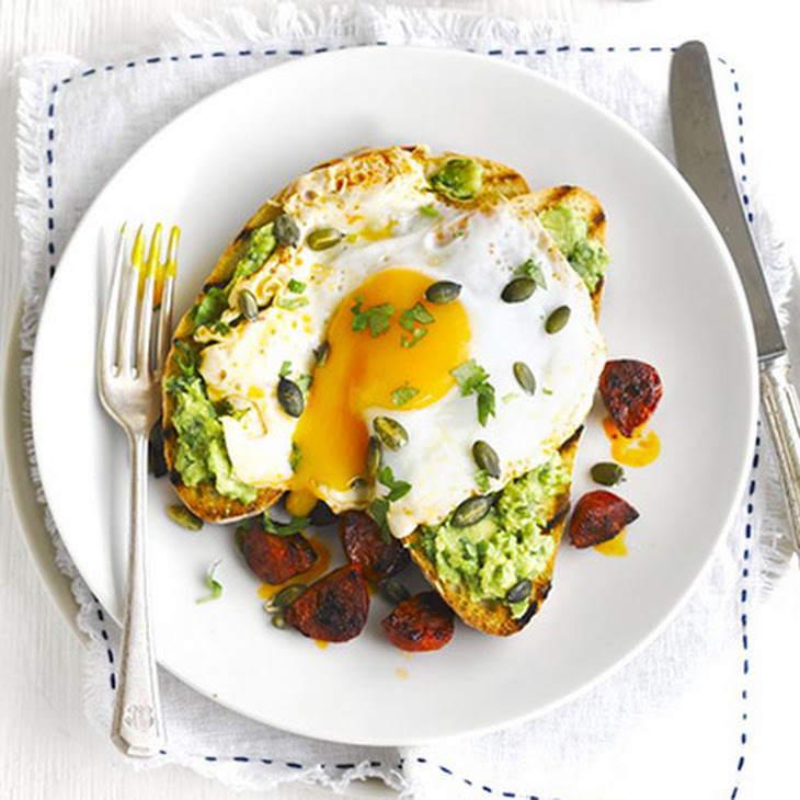 Avocado On Toast With Chorizo & Fried Eggs Recipe | Yummly