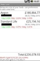 Screenshot of Pension tracker