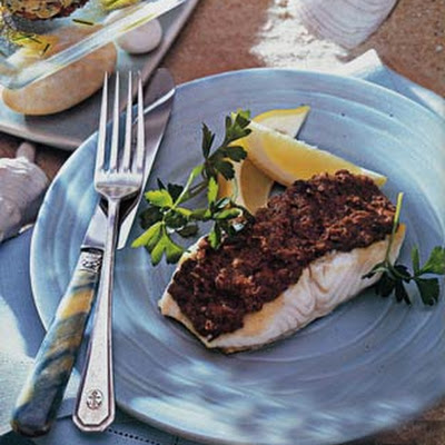Sea Bass with Red Pepper and Olive Tapenade