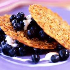 Oat Crisps with Blueberries, Peaches and Crème Fraîche