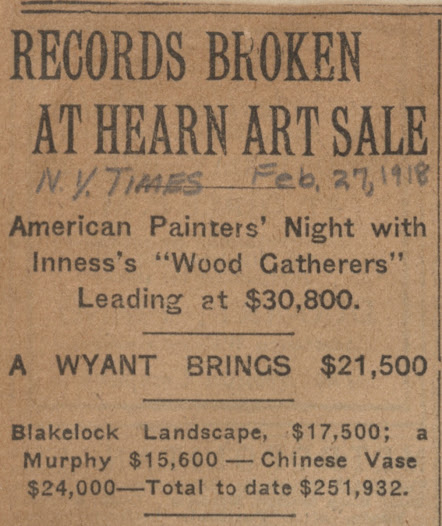 """In 1918, the <i>New York Times</i> reported on the large sums of money spent on American art at the George A. Hearn <a href=""""http://arcade.nyarc.org/record=b1376053~S1"""">auction</a>."""