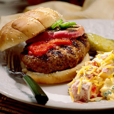 Jalapeño-Stuffed Burgers With Roasted Bell Pepper Ketchup