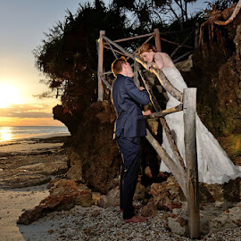 Juliet? by Andrew Morgan - Wedding Bride & Groom ( zanzibar, wedding, sunset, sea, beach )