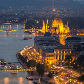 Budapest at  Twilight by Tracey Dolan - City,  Street & Park  Vistas