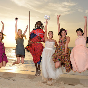 Sunset Joy by Andrew Morgan - Wedding Groups ( zanzibar, happy, joy, sunset, wedding, sea, beach, paradise, massai )