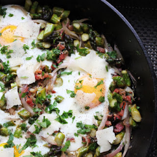 Skillet Eggs with Asparagus, Pancetta, and Parmesan