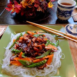 Oriental Dinner Night by Elfie Back - Food & Drink Plated Food ( oriental food, plum sauce, glass noodles, chinese food, blue, orange. color,  )