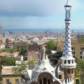Barcelona from Parc Guel by Rich Eginton - City,  Street & Park  Skylines ( cityscapes, city parks, gaudi, architecture, barcelona,  )