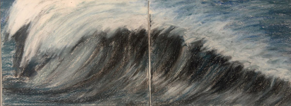Wave Diptych #2 <br> Pastel, pencil on paper <br> 8 x 20 in