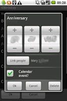 Screenshot of GBirthDay demo