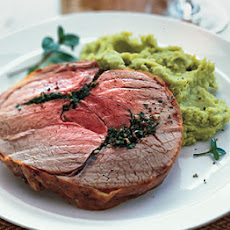 Roast Leg of Lamb with Mint, Garlic, and Lima Bean Purée