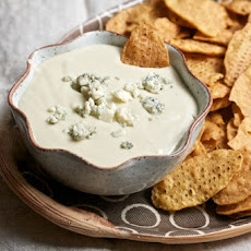 Hot Blue Cheese Dip with Sweet Potato Chips