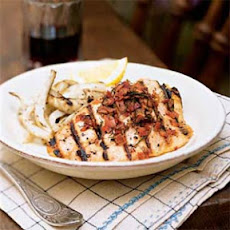 Salmon Trout with Garlic and Grilled Fennel