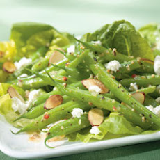 Green Beans With Toasted Almonds Over Bibb