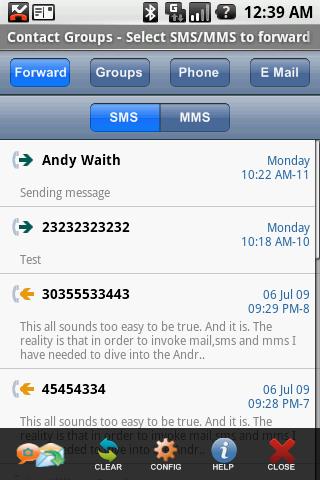 Group SMS MMS + Forward Twitt