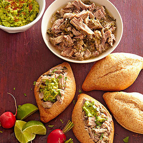 Lime-Green Chile Pork Tortas with Freezer Guacamole